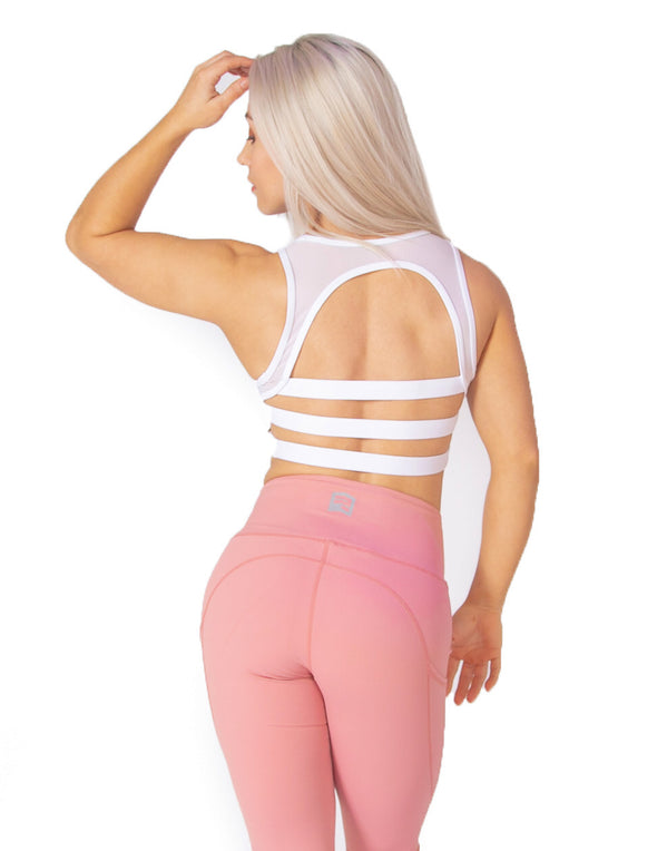MESH SPORTS BRA - WHITE - Rise Above Fear, High Performance Activewear, Sportswear