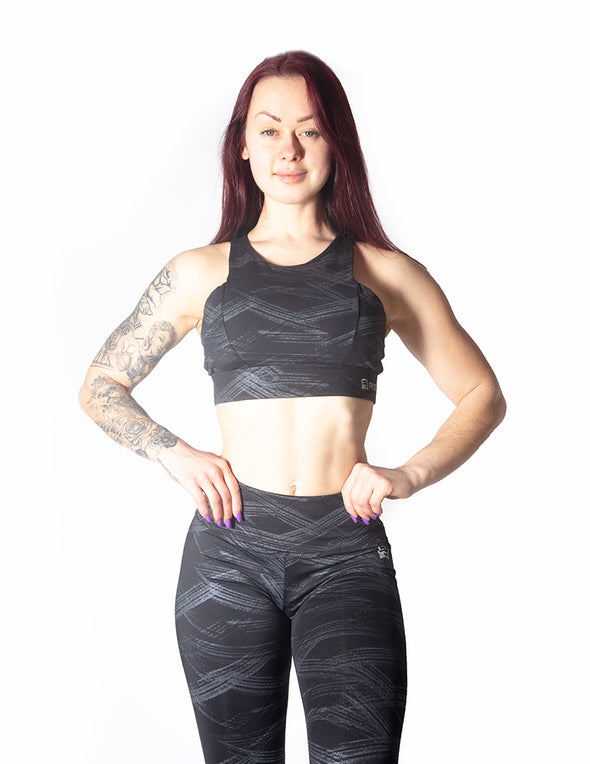 RACERBACK SPORTS BRA WITH GRAPHIC PRINT - BLACK - Rise Above Fear, High Performance Activewear, Sportswear