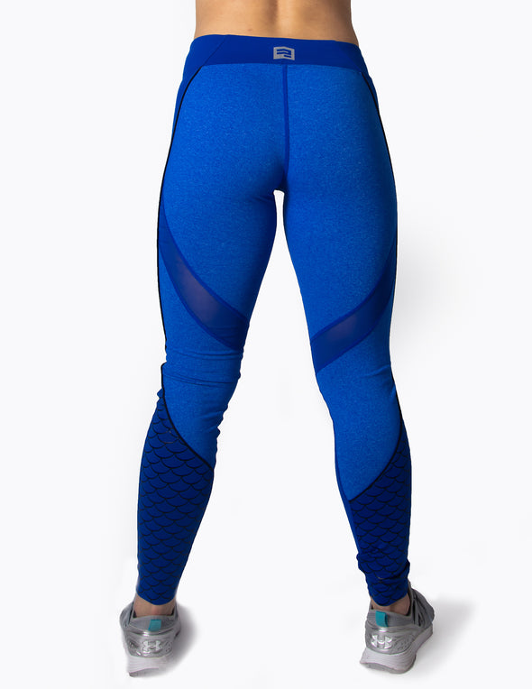 MERMAID MESH PANEL LEGGINGS - BLUE - Rise Above Fear, High Performance Activewear, Sportswear