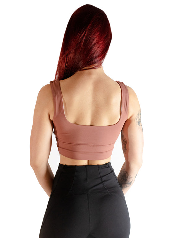 SIGNATURE SPORTS BRA - CAMEO BROWN