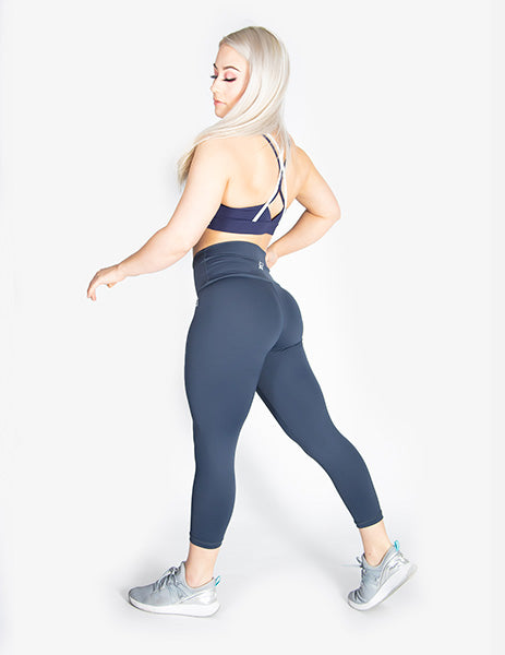 HIGH RISE CAPRI LEGGINGS - NAVY - Rise Above Fear, High Performance Activewear, Sportswear