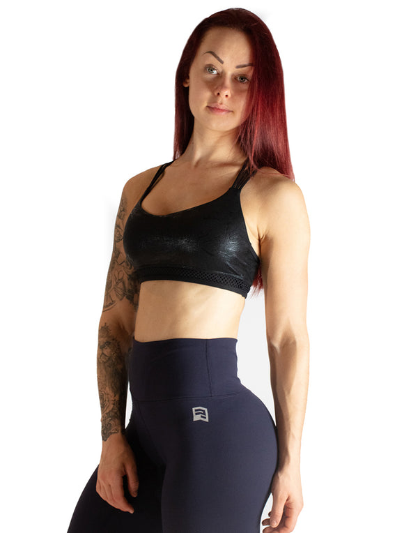 MARBLE EFFECT SPORTS BRA - BLACK