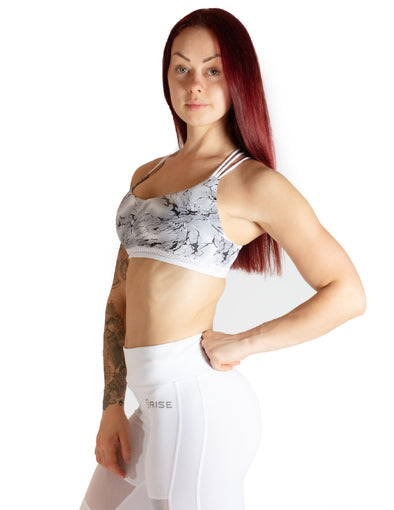 MARBLE EFFECT SPORTS BRA - WHITE