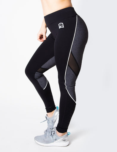 MERMAID MESH PANEL LEGGINGS - GREY/BLACK - Rise Above Fear, High Performance Activewear, Sportswear