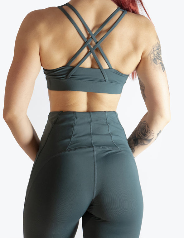 MESH PANEL HIGH RISE LEGGINGS - TEAL