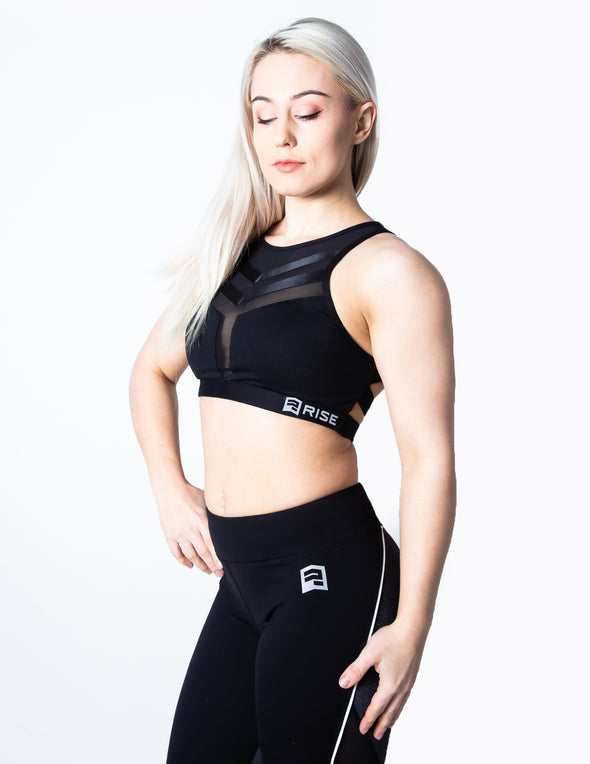 MESH SPORTS BRA - BLACK - Rise Above Fear, High Performance Activewear, Sportswear