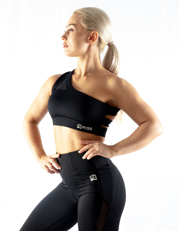 ONE SHOULDER MESH SPORTS BRA - BLACK