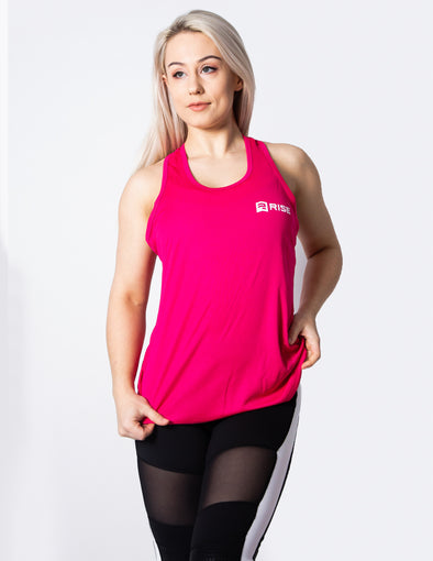 RACER BACK VEST TOP - PINK - Rise Above Fear, High Performance Activewear, Sportswear