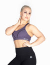 RACERBACK SPORTS BRA WITH CRISS CROSS DETAIL - PURPLE - Rise Above Fear, High Performance Activewear, Sportswear