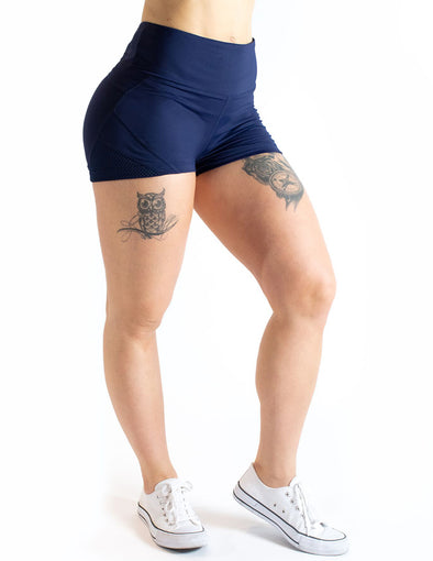 MESH PANEL LEGGING SHORTS - NAVY