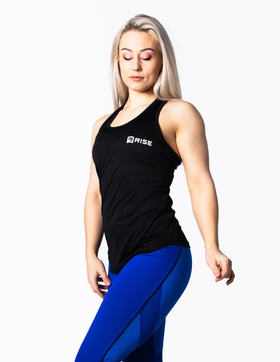 RACER BACK VEST TOP - BLACK - Rise Above Fear, High Performance Activewear, Sportswear