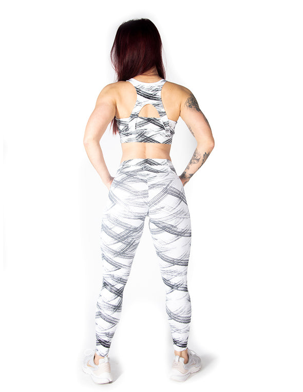 RACERBACK SPORTS BRA WITH GRAPHIC PRINT - WHITE - Rise Above Fear, High Performance Activewear, Sportswear
