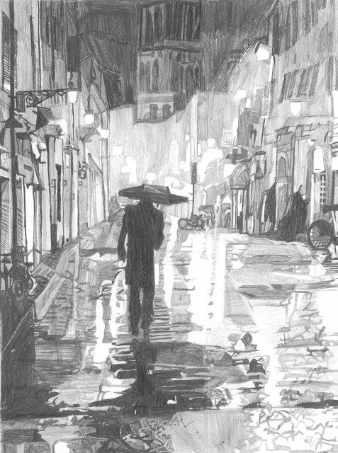 A Man Strolling in Italy on a Rainy Night