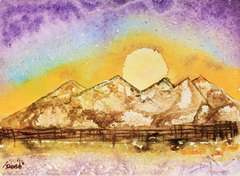 Sunset Behind Mountain - ArtLifting