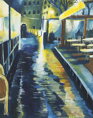 Cafe at Night in the Rain - ArtLifting