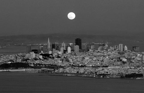 Full Moon Rising over San Francisco circa 1996 - ArtLifting