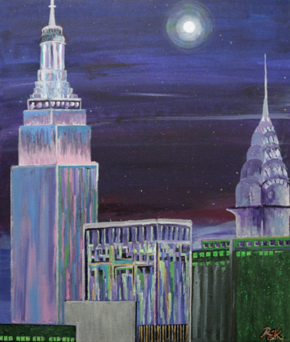 Moon Haze Over Manhattan - ArtLifting