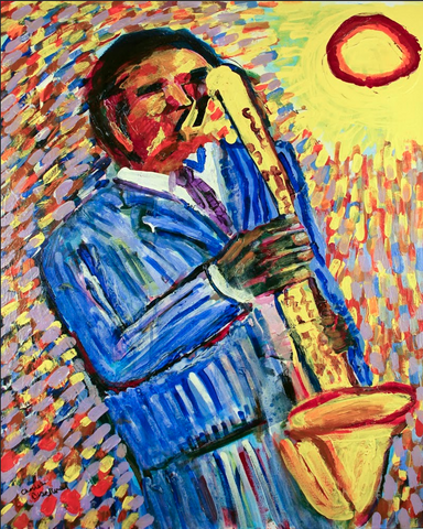 Yellow Saxophone Poster