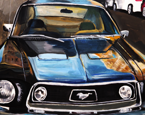 1968 Mustang in the City - ArtLifting