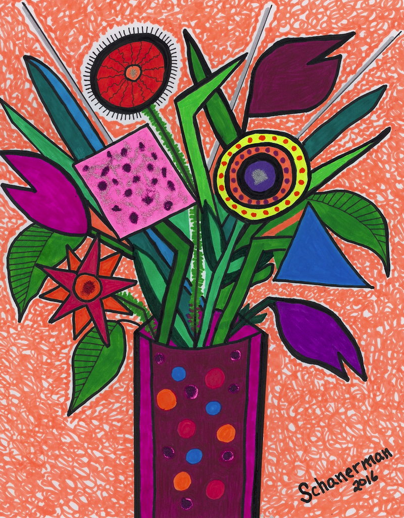 Funky Flowers in a Vase - ArtLifting
