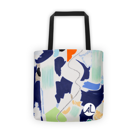 Blue Landscape Abstraction Tote Bag