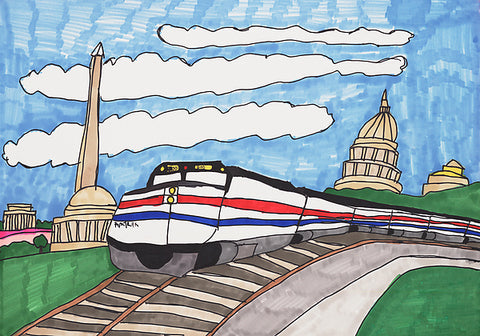 Washington, D.C.: Amtrak and the Capitol Building - ArtLifting