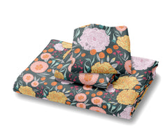 Vintage Floral on Gray Duvet Cover Bedding, Grey with Pink,  Seafoam Teal, Yellow and Coral Flowers