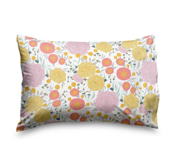 Floral on a White Sheet Set, Soft sheets for Deep Mattresses, in Pink, Yellow, Seafoam Teal and Coral Flowers