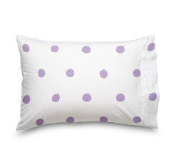 Lilac Polka Dot Sheet Set, Soft sheets for Deep Mattresses, White and Purple