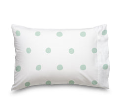 Seafoam Green Polka Dot Sheet Set, Soft sheets for Deep Mattresses, White and Mint