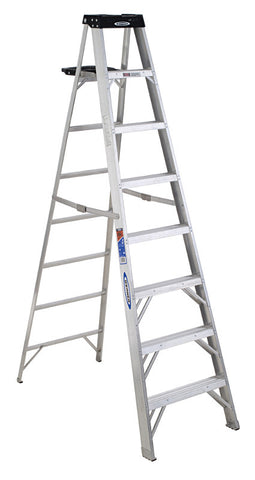 Werner 8 ft Type IA Aluminum Step Ladder w/ Pail Shelf 300 lb. Cap - 378