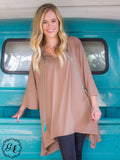 Grace & Emma Beige Simple Loose Tunic With Turquoise Tassels