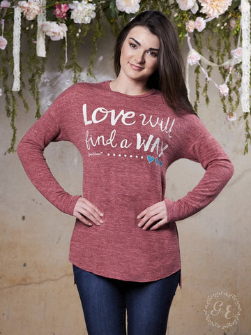 Southern Grace Love Will Find a Way Shirt On Maroon