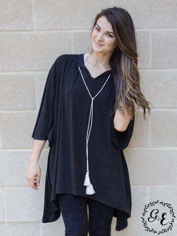 Grace & Emma Black Simple Loose Tunic with Tassels