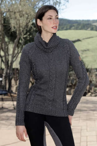 Goode Rider Comfy Cable Sweater Charcoal