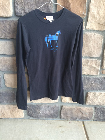 Stirrups Long Sleeve Horse Shirt Black