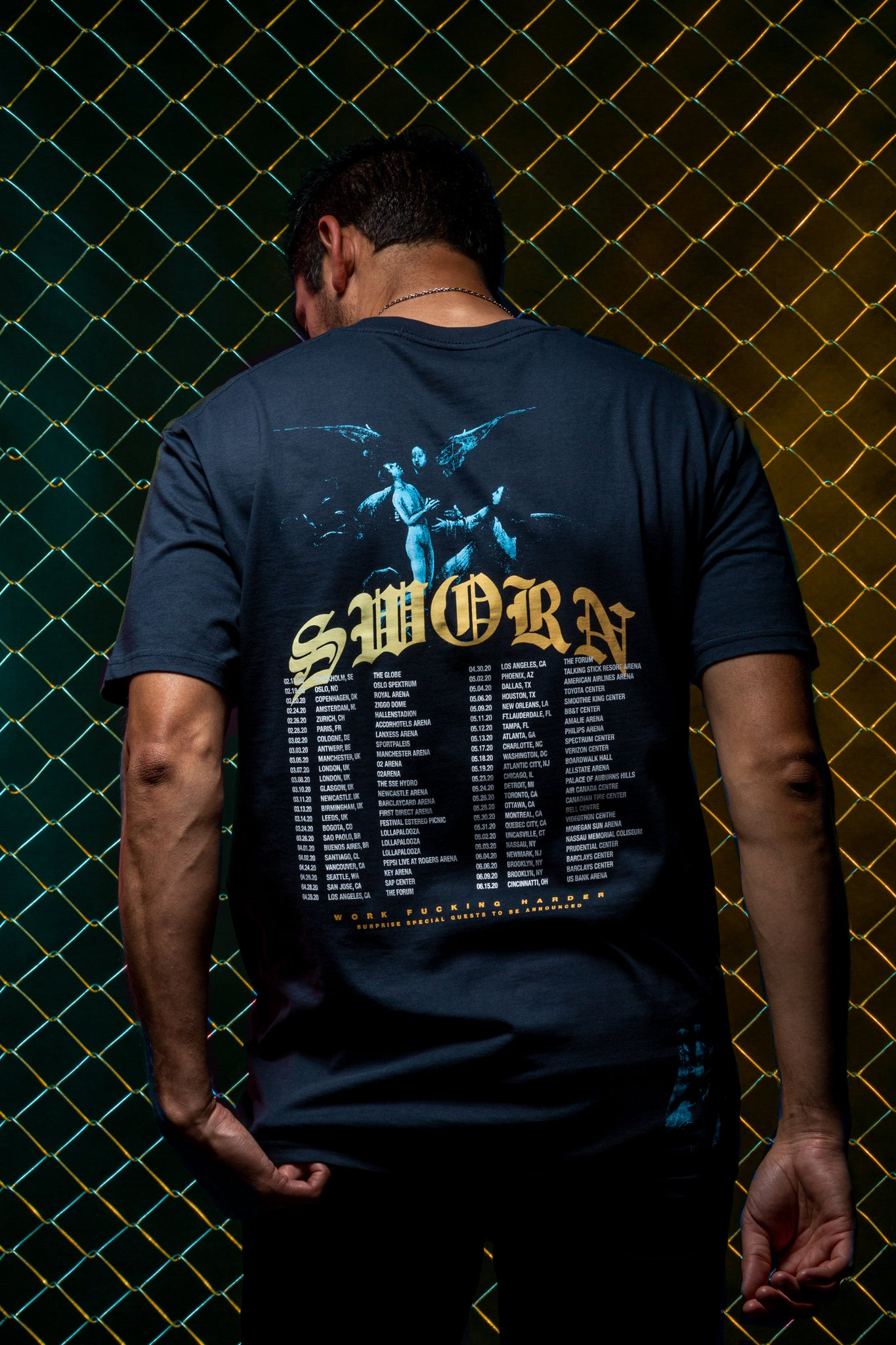 Sworn To Us - Eternally Grateful Tour - TOUR tee // Indigo Blue Back