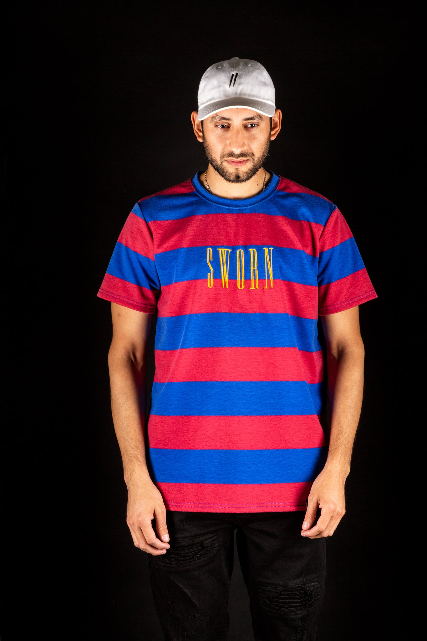 Sworn To Us - Bold Stripe Tee - Red & Blue