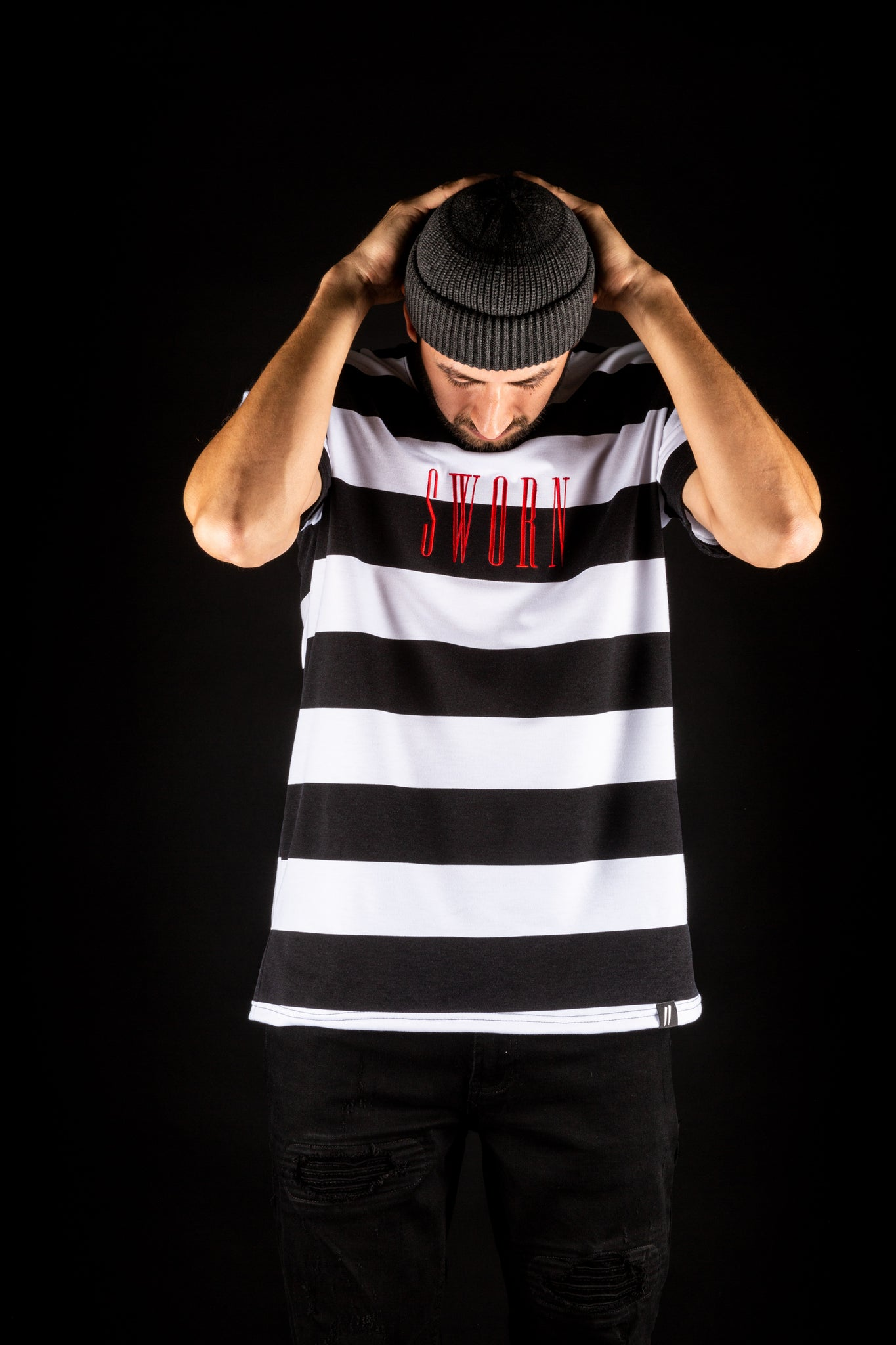 Sworn To Us - Bold Stripe Tee - Black & White