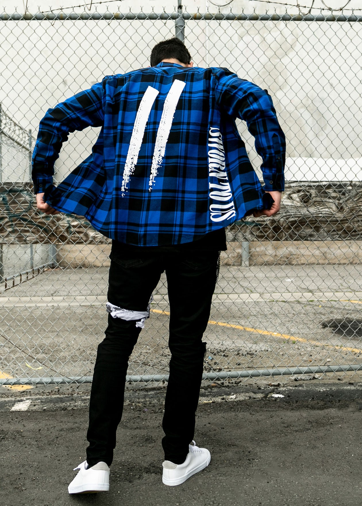 Another State of Mind Flannel Royal Back Sworn To Us