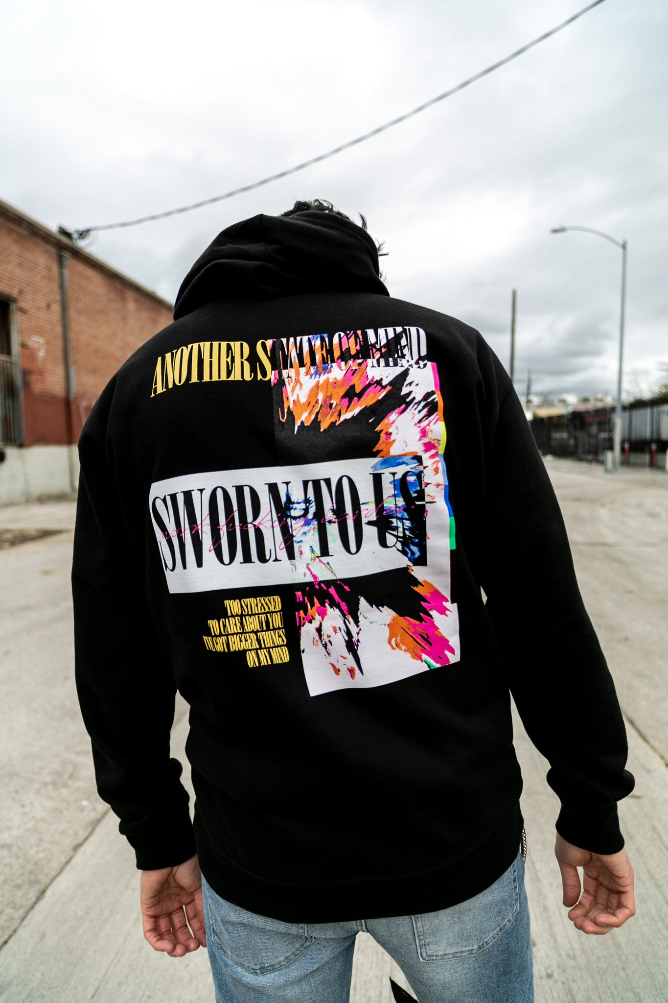 Another State of Mind Hoodie Black Back Sworn To Us