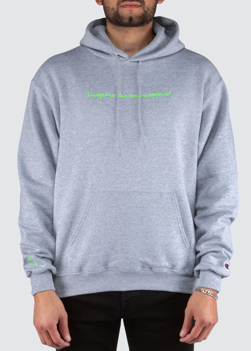 Sworn x Champion Hoodie // Athletic Heather & Lime