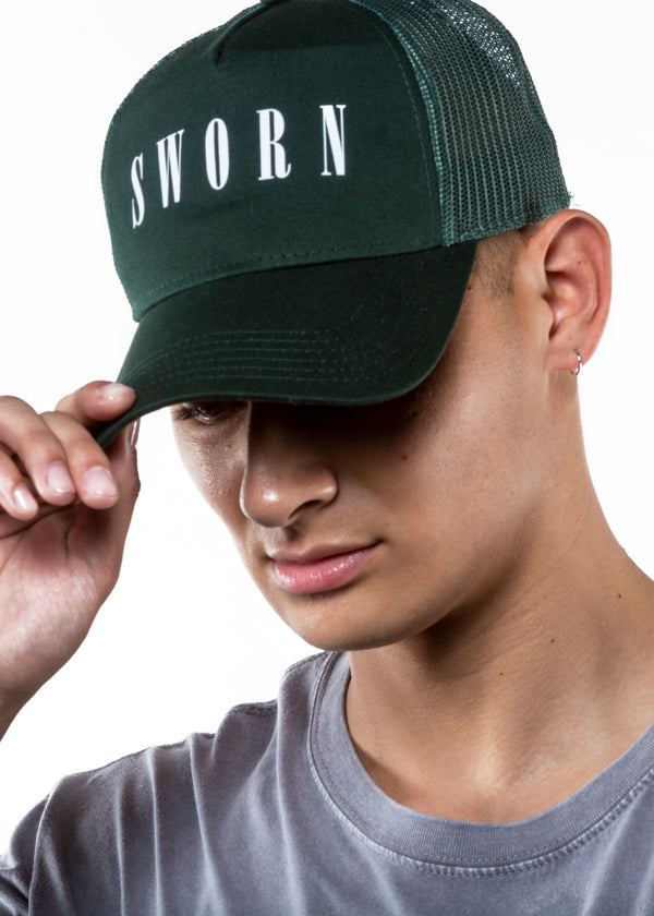 Paradise Trucker Hat // Forest Green