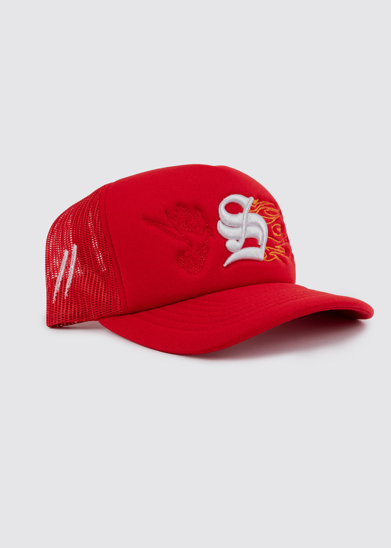 Inferno Foam Trucker Hat // Red