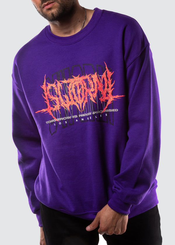 Metal Glitter Crewneck Sweater // Purple