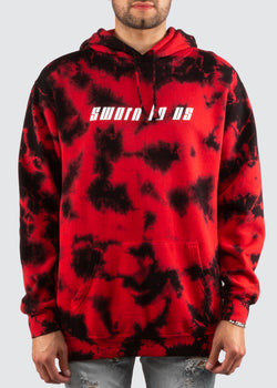 No Days Off Crystal Wash Hoodie // Red