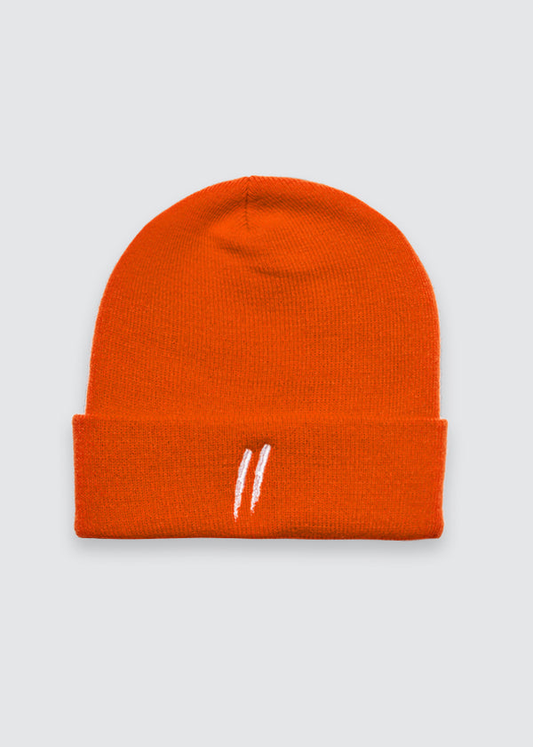 Signature Slash Cuff Beanie // Orange