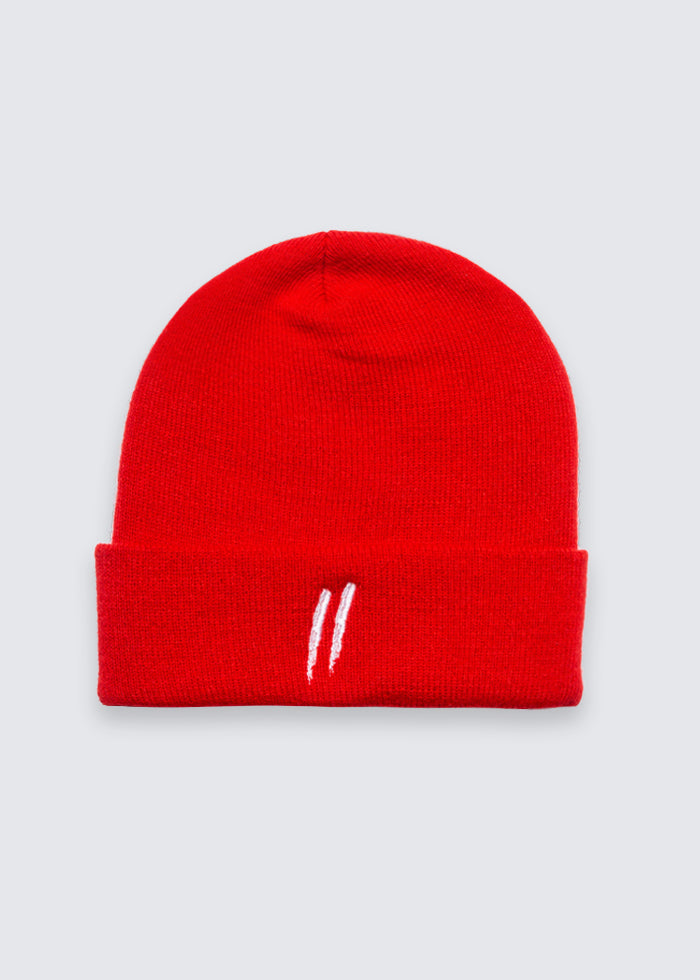 Signature Slash Cuff Beanie // Red