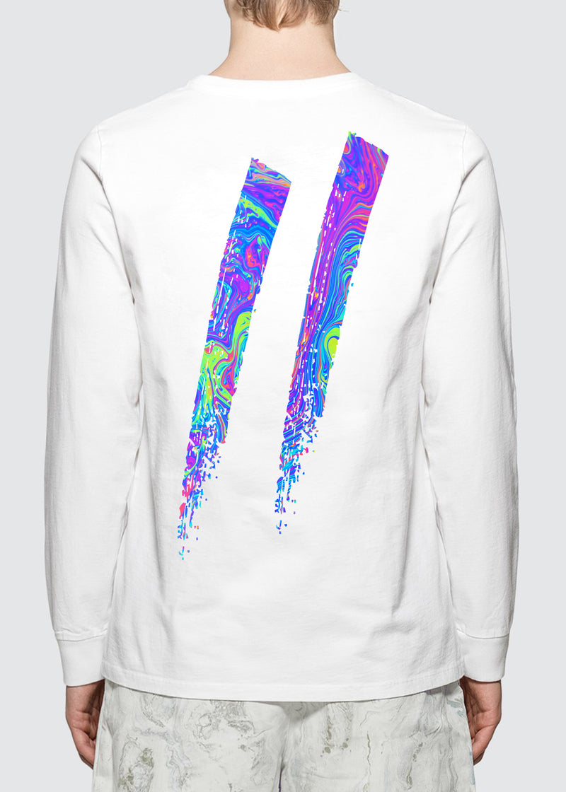 Oil Slick Longsleeve Tee // White