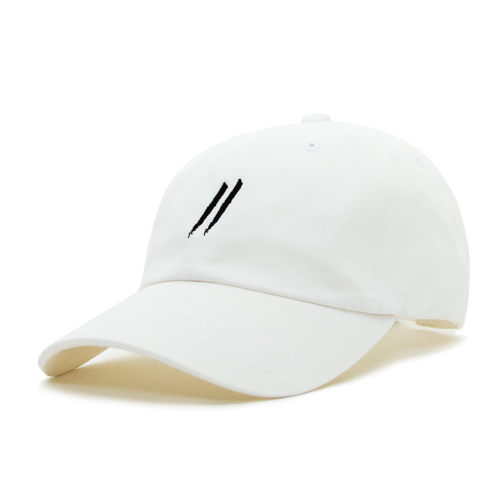 Signature Slash Dad Hat // White